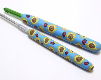 Sunflower Ladybug Crochet Hook, Blue Yellow Red, Short or Long Handle, Polymer Clay Cane, Handmade Craft Supply, Unique Crocheter Gift