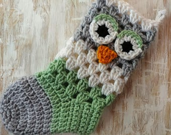 Crochet Owl Christmas Stocking in Gray, White, and Green