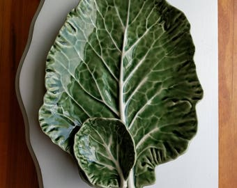 Bordallo Pinheiro, Green Cabbage Leaf Chip and Dip Serving Platter, Made In Portugal, Vegetable Party Tray, Cabbage Dish