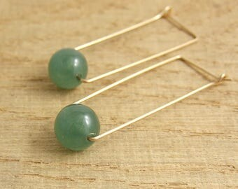 Rectangular Shaped Hoop Earrings with Green Aventurine Beads and 14 K Gold Filled Wire GCHE-7