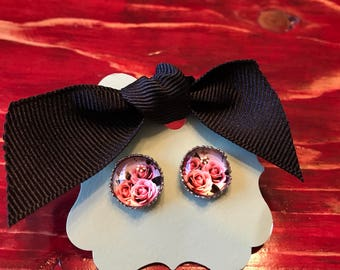 Rose stud earrings
