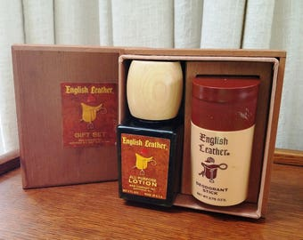 Vintage English Leather Gift Box Set Lotion Cologne Deodorant Stick Wood Box Dovetail Joints 1966