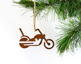 Motorcycle Metal Ornament by WATTO Distinctive Metal Wear / Biker/Rusty Metal Ornament / Christmas Gift /Christmas Ornament/Stocking Stuffer