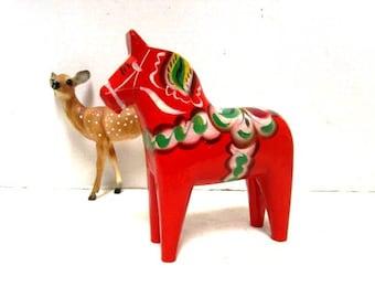 Handmade Vintage Swedish Dala Horse, Handpainted Folk Art, Souvenir, Tripp Trapp Trull, Nusnas, Dalarna, Swedish Christmas, Red