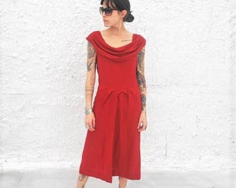 25% OFF SALE Vintage 1940s Red Wool Cowl Neck Day Dress XS/S
