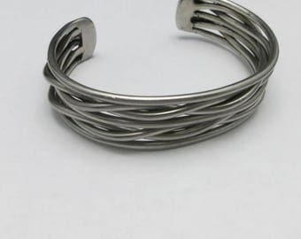 Sterling silver bracelet Cuff Braided sterling wire Hand made