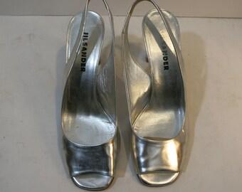 jill sander silver pumps vintage sling backs high heels