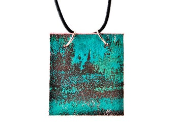 Turquoise Gift Metal Patina Boho Fashion Primitive Necklace Rustic Jewelry Christmas Holiday Sale Hanukkah Xmas