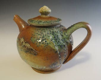 Salt Fired Small Mountain & Trees Landscape Tea Pot