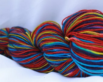 Hand painted self striping wool nylon sock yarn (89 Grams 3.1 oz) #187