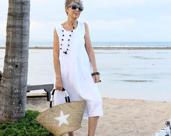LINEN, Wayan Dress, Midi, Sleeveless, Resort Wear, Summer Dress, Bohemian, Tropical, Bali, Black, White, Gray, Natural, Gold, Size 4-20