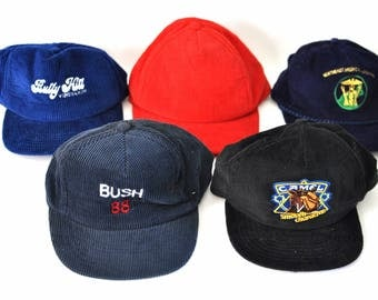 Cordoroy Caps Hats Bully Hill Winery Plain Bush 88 Camel 80s Embroidered Vintage Baseball Trucker Hat Royal Blue Green Red Black