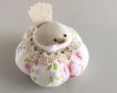 Pink Blue and White Floral Bird Pincushion Cute Bird Pin Cushion Pin Cushion