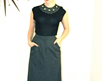 SALE 50% OFF Vintage 60s Pencil Skirt High Waisted Wool Sexy Secretary Heather Gray Tweed Fitted Wiggle MAD Men Sexy Secretary Joan Holloway