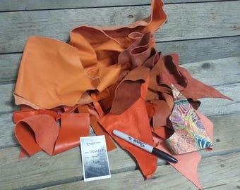 Orange Salvaged Leather Scraps - Buckskin Leather Pieces - 3/4 Pound Bag - Lot No. 170605-E