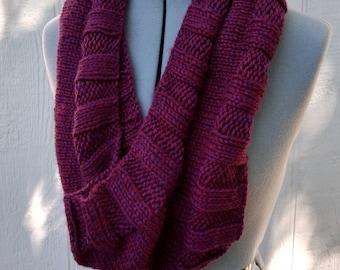 Burgundy Maroon Hand Knit Cowl Scarf