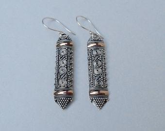Rich granulation Sterling Silver gold 18 ct foil dangle earrings / silver 925 / Bali Handmade Jewelry