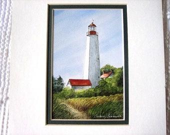 Watercolor Print Light House Framed Barbara Brinkman Beach Shore Sand Dunes Scene