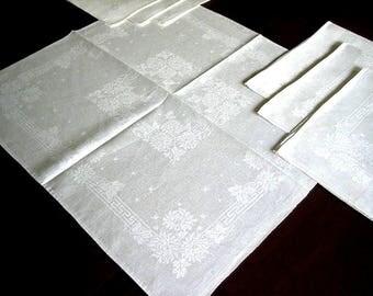 DAMASK Napkins for Tablecloth Replacement Set Vintage LARGE LINEN Crisp White Set 7