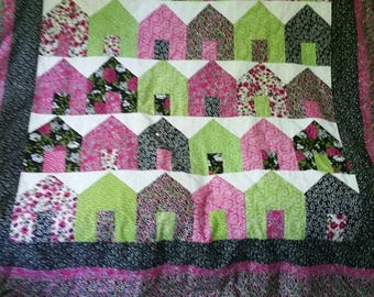 Hand Quilted House Lap Quilt or Baby Floor Quilt