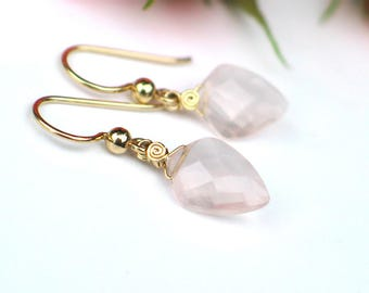 Rose Quartz Earrings | Kite Shape | Light Pink Faceted Rose Quartz | 14k Gold Fill Dangles | Madagascar Rose | Birthady Gift | Ready to Ship