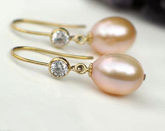 Pearl Earrings | Peach Pink Champagne Freshwater Pearl Drops | CZ Bezel 14k Gold Filled Dangles | Birthday | Bridal Jewelry | Ready to Ship
