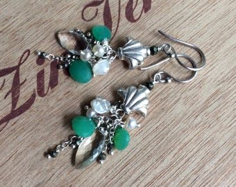 Chrysoprase and Pale Green Quartz Pearl Cluster Earrings and Hills Tribe Accent Bead Dangle Earring in Sterling Silver