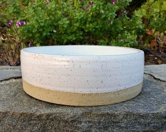 READY TO SHIP, Dog Bowl, Ceramic Dog Bowl, Pottery, Dog Dish, Pet Bowl, White, Handmade, Ceramic, Rustic Bowl, jclay
