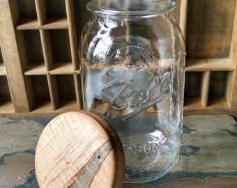 Wood Mason Jar Lid, Hand Turned Wooden Lid and Jar, Ball Jar with Wood Lid, Wood Pantry Jar Lid, Sunset Turnings