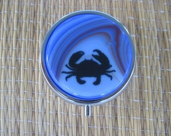 Crab Fused Glass Metal Pill Box Case Holder