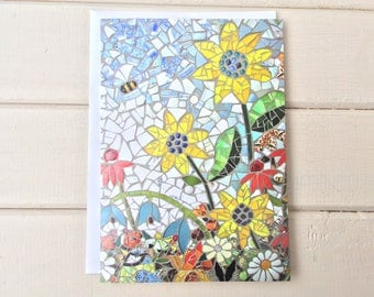 Sunflowers Greetings Card ~ Mosaic Card ~ Sunflowers Card ~ all Occasion ~ Mosaic Note Card ~ Floral Card  ~ Gardeners Card ~ Birthday Card
