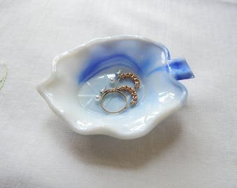 Blue Akro Agate Leaf dish, ring dish, ashtray, swirl, slag glass