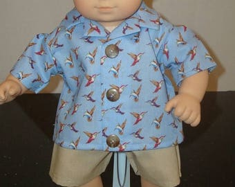 "ON SALE 15"" Baby Doll Clothes/Hummingbirds/2 piece Shirt & Shorts/Made to fit 15"" Bitty Baby Boy/READY To Ship"