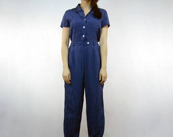 Womens Blue Jumpsuit Pockets Vintage Short Sleeve Button Up Silk Jumpsuit One Piece - Small S