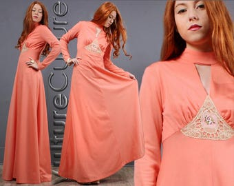 Vintage 70s Boho Hippie Dress Peach Deep V Lace Crochet Goddess Maxi S/M