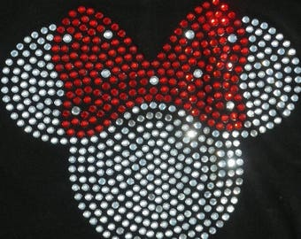 SALE 8.5 inch clear/red Minnie Mouse iron on rhinestone TRANSFER for Disney costume or t shirt