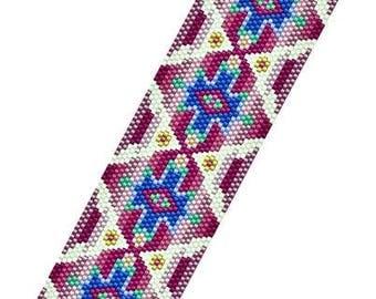 Peyote - Rose Gold - BP-PEY-154-2017-083 - Peyote PATTERN, beadweaving pattern, Peyote Bracelet Pattern, beaded bracelet, bracelet pattern