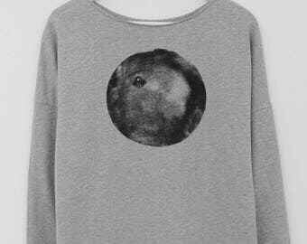 Women Sweatshirt, Gray Top, Jumper, Fashion Sweatshirt, Loose Top, Cotton Sweatshirt, Cozy Sweater, Long Sleeve Sweatshirt, Black moon Shirt