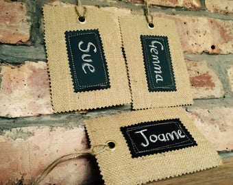 Burlap Rustic Style Chalk Board Fabric Name Tag for your Santa Sack, Stocking or Gift