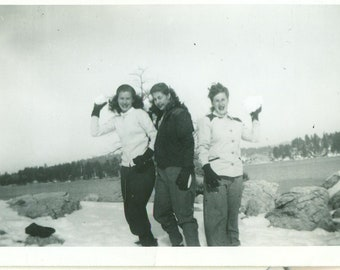 1940s Snowball Fight Young Women Outside Winter Playing in Snow 40s Vintage Photograph Black White Photo