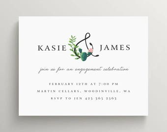 succulent engagement party invitation //bridal shower // baby shower // cactus // floral // thank you note // stationery // modern