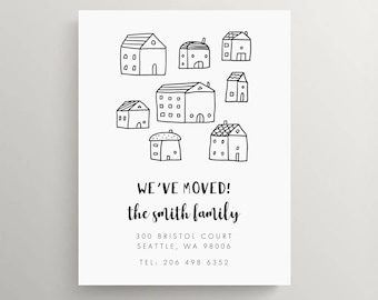 simple houses moving announcement set  // new home // house warming party // we've moved // modern // black and white // minimalist