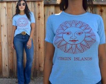 Vintage 70s VIRGIN ISLANDS Sun Graphic Babydoll Tee M L