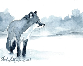 Fox Blues  Original Watercolor painting LLMartin Free Shipping USA Nursery, New Mom , Country, Den