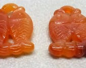 Pair of Natural Carnelian Carved Fish Pendant Beads