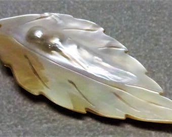 Carved Leaf Blister Pearl Pendant