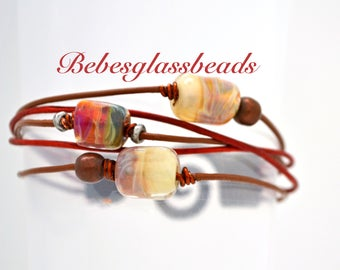 Bebe's Glass Boro Bead 5 strand Red Brown Women's Leather Bracelet Patina Brass Clasp Large #34
