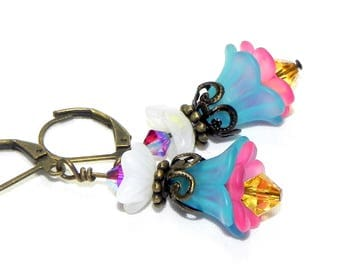 Lucite Flower Earrings -  Blue, pink, yellow and white Tulip beads and Swarovski crystals - Victorian earrings