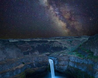 SUMMER SALE-Ends July 5- Palouse Falls Photo Landscape Waterfall Photo Falls Milky Way Night Stars Desert Print Wall Art Home Decor nat154