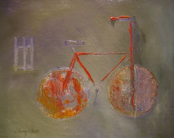 Bicycle Art Print, Impressionist Country Art,Bike, Bicycle Paintings,Cycling Gifts,Bike Wall Decor,Exercise Inspiration